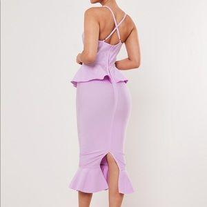 Missguided Dresses - Premium lilac bandage bust cup peplum midi dress